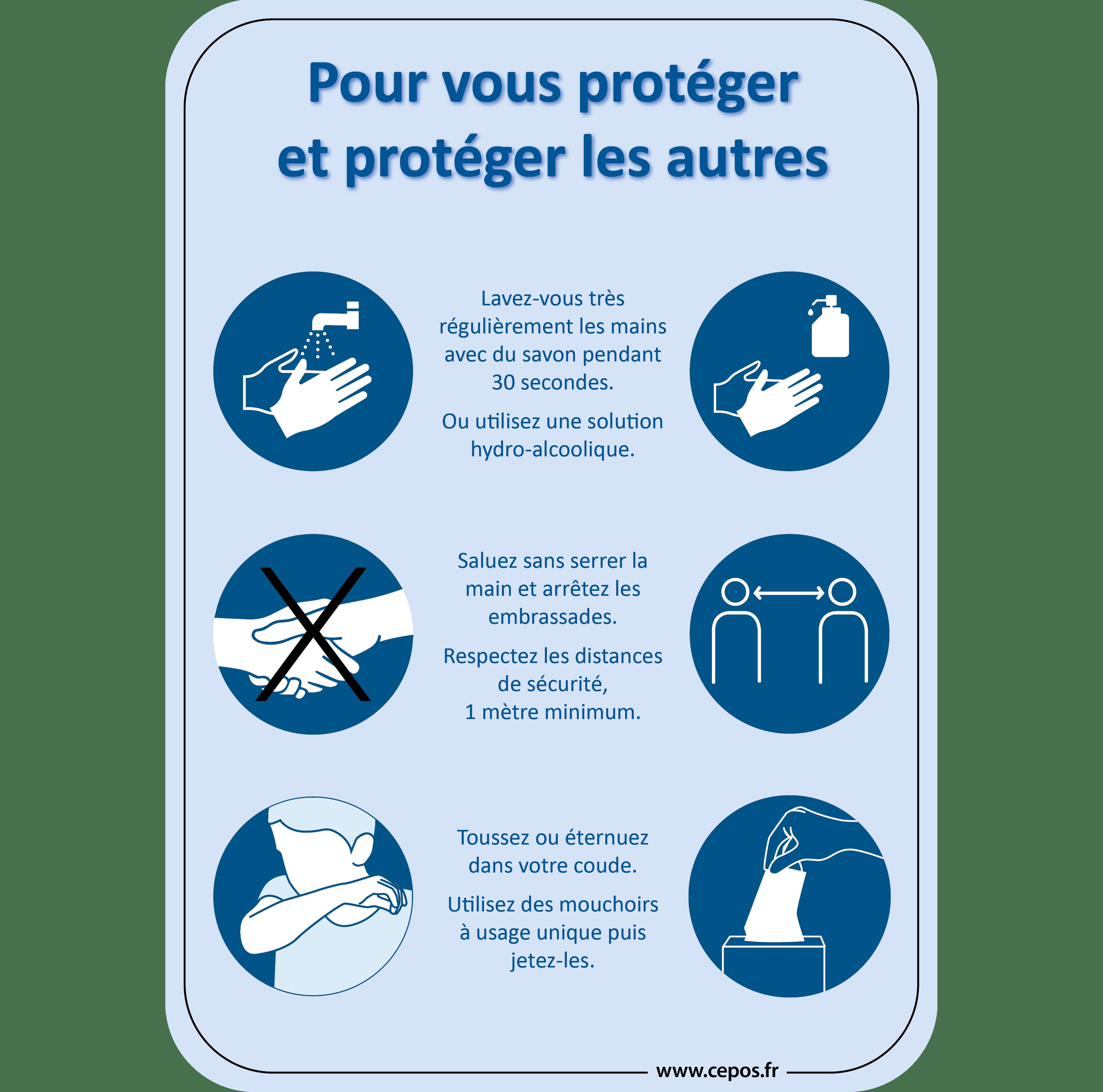 CEP Sticker mural Affiche A Les gestes barrières 7010-100 FR