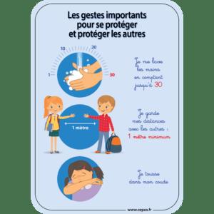 CEP Affiche A4 7010-120 les gestes barrières environnement scolaire